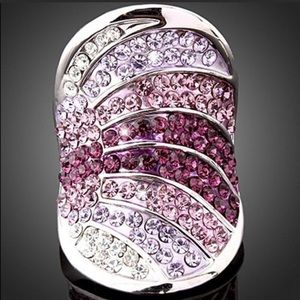 Pink & Clear Cubic Zirconia Silver Plated Ring